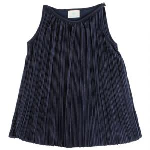 Marinblå Plisserad Klänning