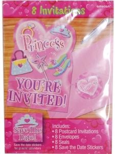 Inbjudningskort Prinsess 8-pack