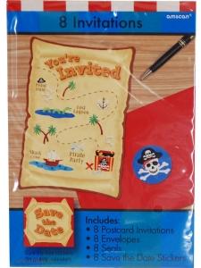 Inbjudningskort Pirat 8-pack