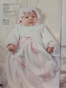 Dopklänning Vit Brodyr - inkl rosa o blått band