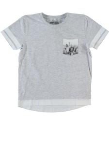 T-shirt nitKroels x-lång EKO grå m ficka
