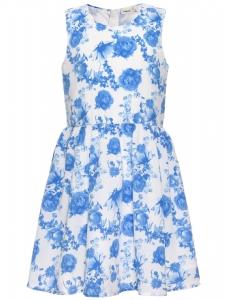 Klänning nitHifason vit m blå blommor 11
