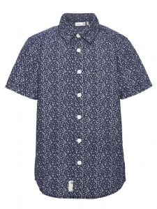 Skjorta nitKlower EKO marinblåblommig