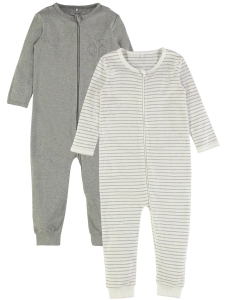 Helpyjamas Nightsuit 2-pack med zip Grå