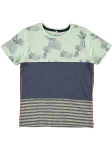 T-shirt JAY Randig/Blå/Palmblad EKO