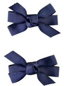 Hårspänne Mini Rosett Marinblå 2-pack