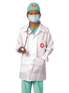 Doktors Set - Doktorsrock, byxor, stetoskop, mm