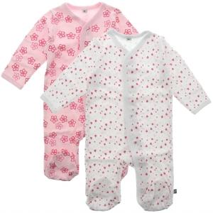 Pippi Pyjamas med fot 2-pack - Rosa