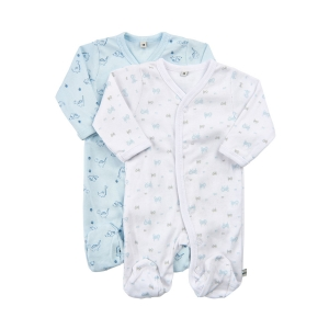 Pippi Pyjamas med fot 2-pack - Blå