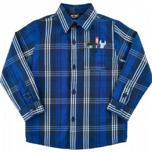 Marinblå Rutig Barnskjorta