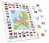 Pussel Europa med Europas Flaggor - 70 bitar